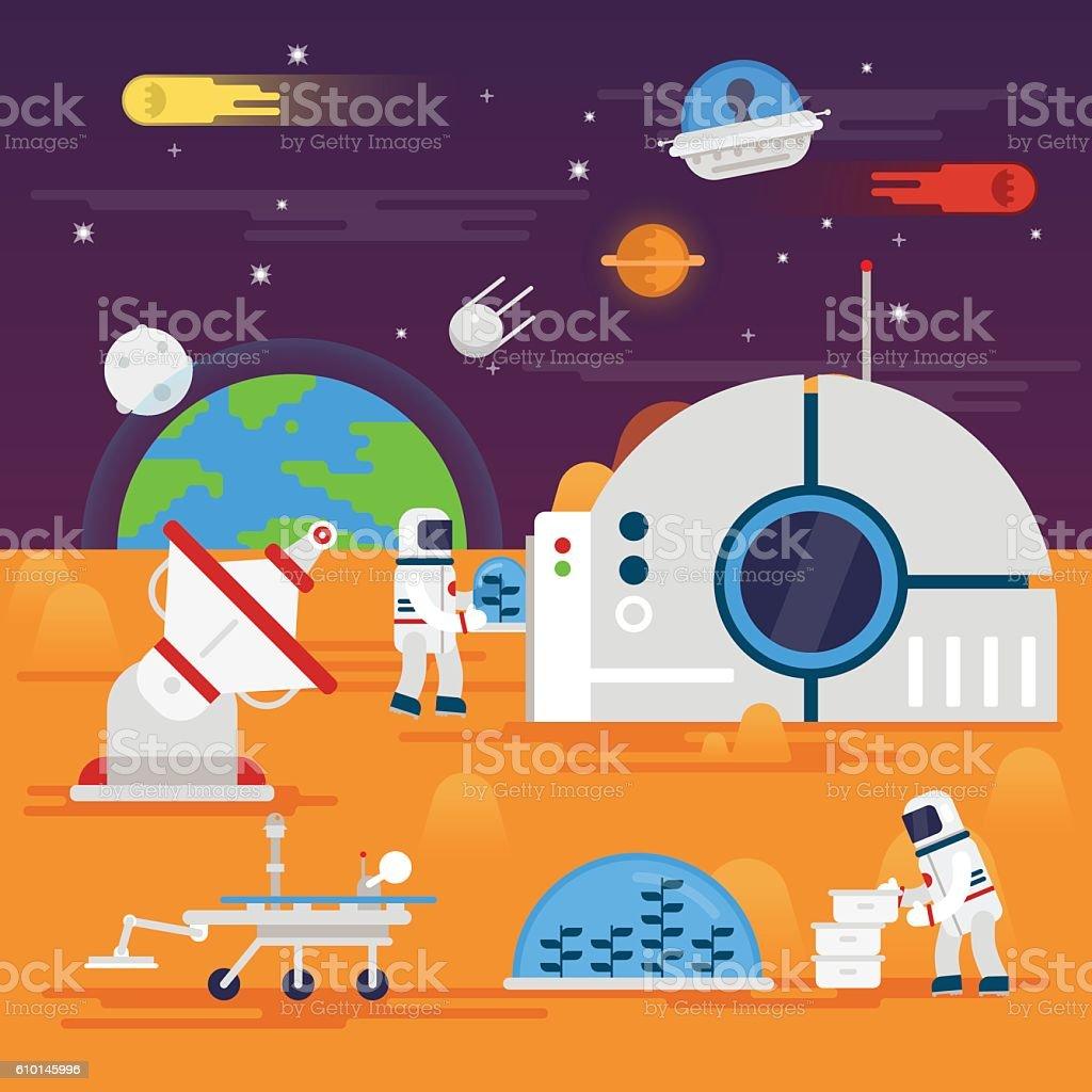Сolonization of Mars vector art illustration