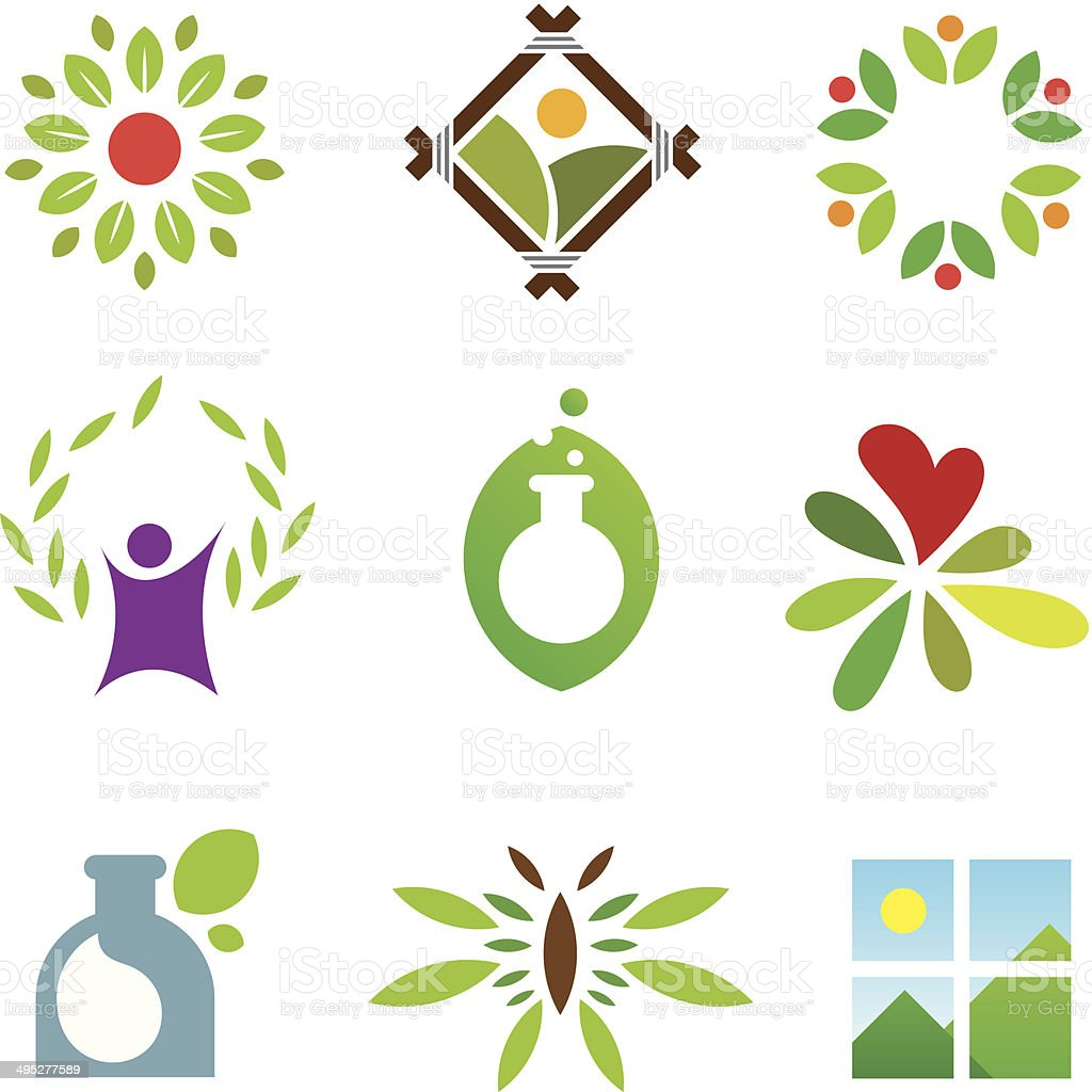 Olympic green success nature leaf landscape healthy care logo icon vector art illustration