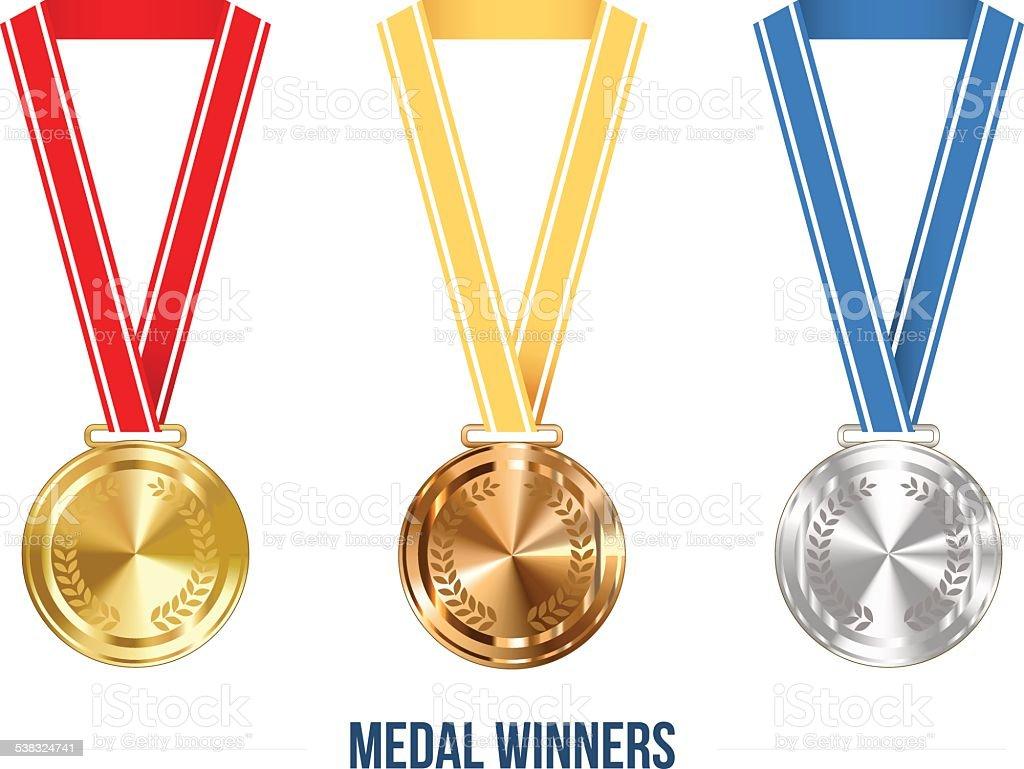 Olympic Medal with Ribbon Set, Vector Illustration vector art illustration