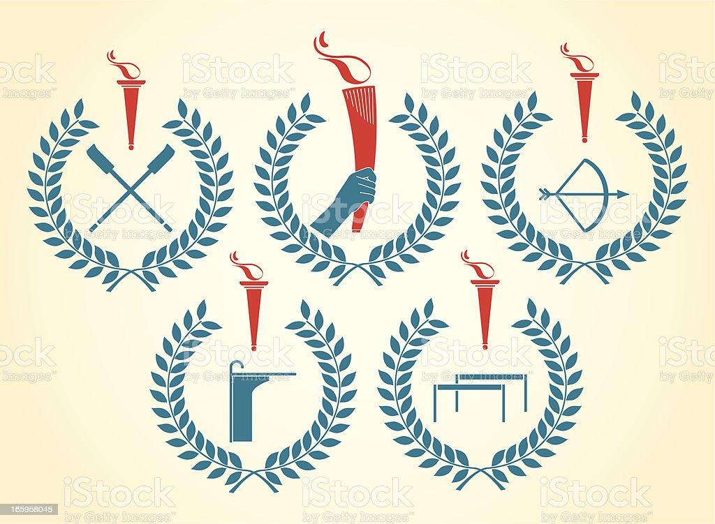 Olympic sports emblems vector art illustration