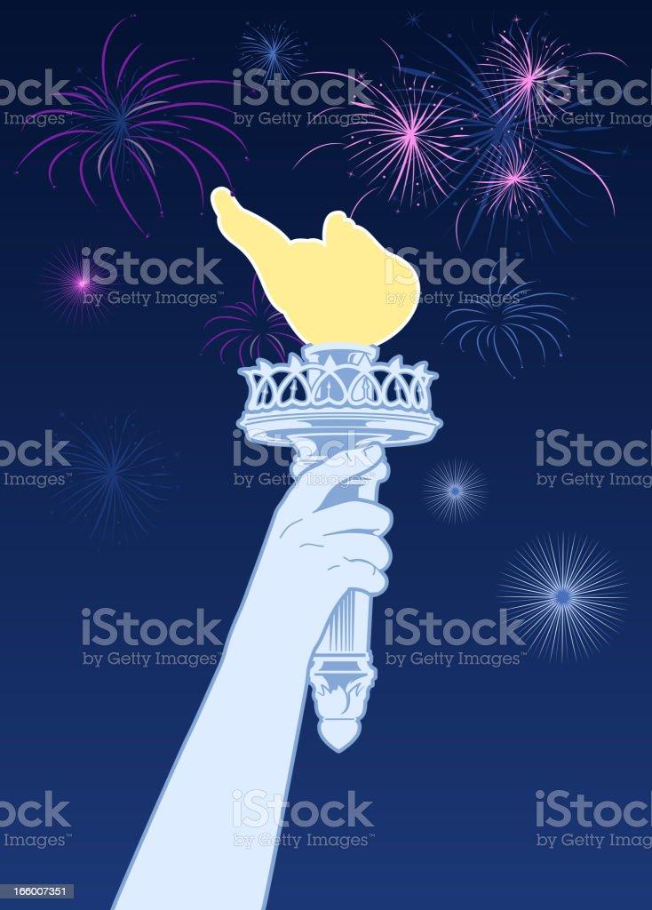 Olympic tourch firewroks vector art illustration