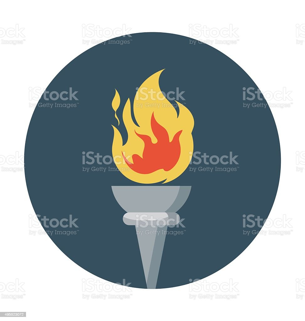 Olympics Flame Colored Vector Icon vector art illustration
