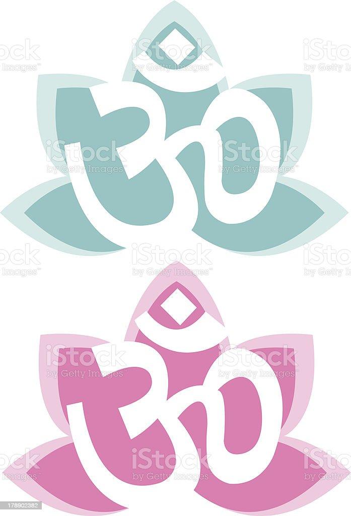 Om and Lotus Symbol royalty-free stock vector art