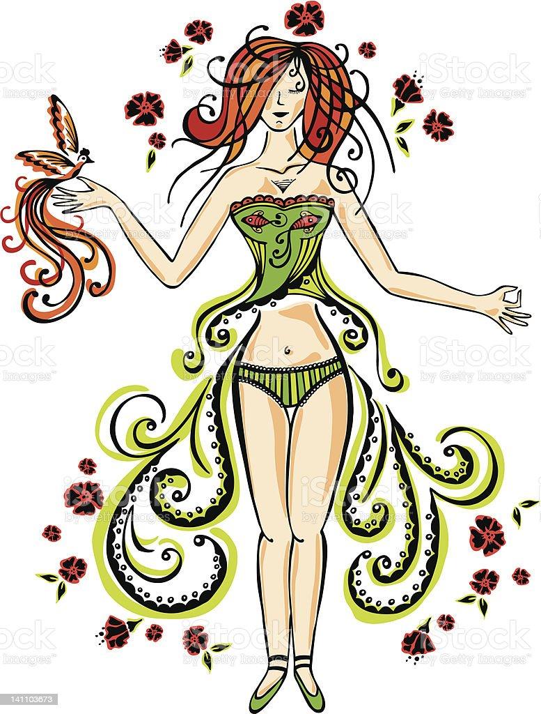 Om girl royalty-free stock vector art