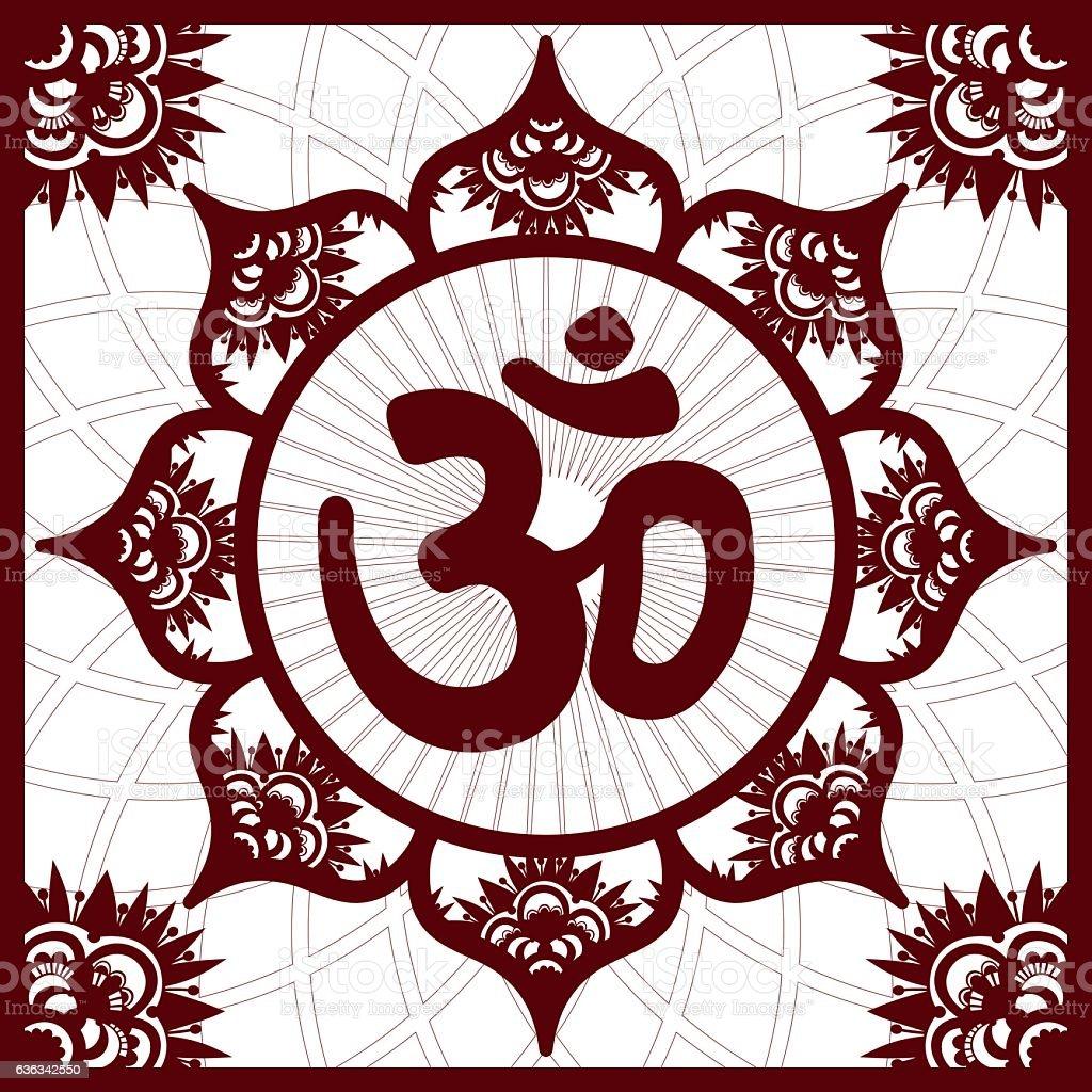 Om or Aum Mandala, Henna imitation square ornament vector art illustration