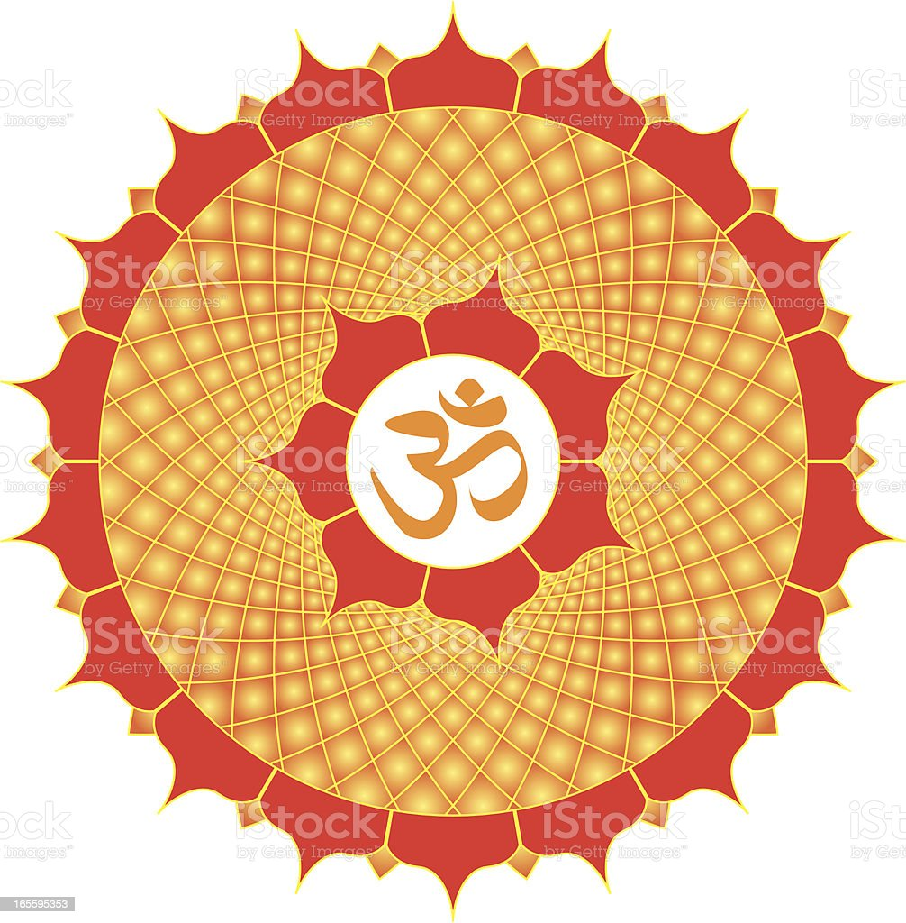 Om or Aum  Symbol with meditative mandala, Vector Illustration royalty-free stock vector art