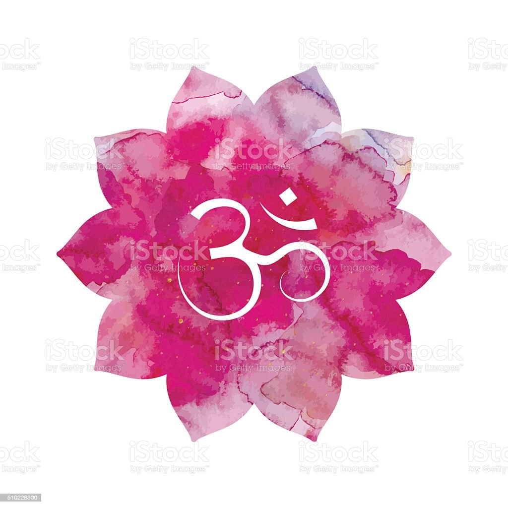 Om sign in lotus flower vector art illustration
