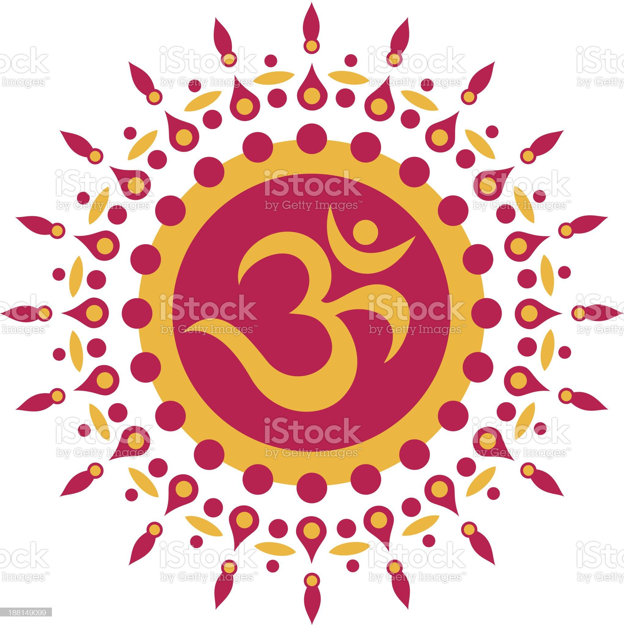 Om Sun, Flower, Buddhism royalty-free stock vector art