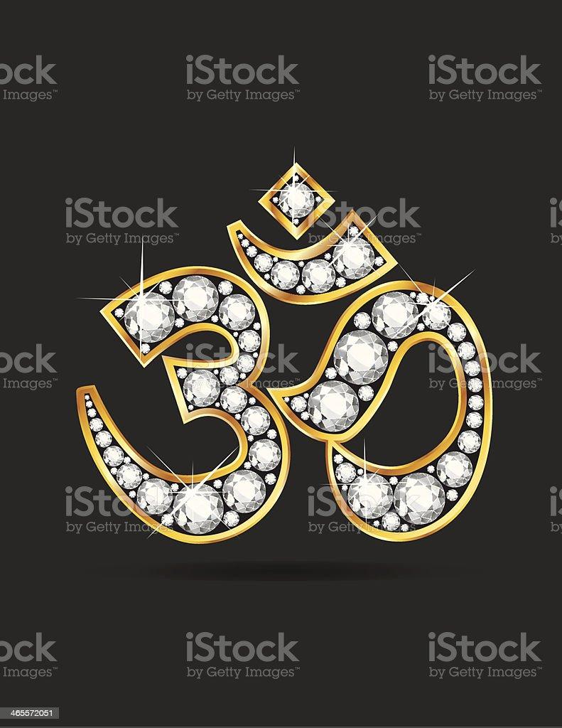 Om Symbol in Gold with Diamond Stones vector art illustration