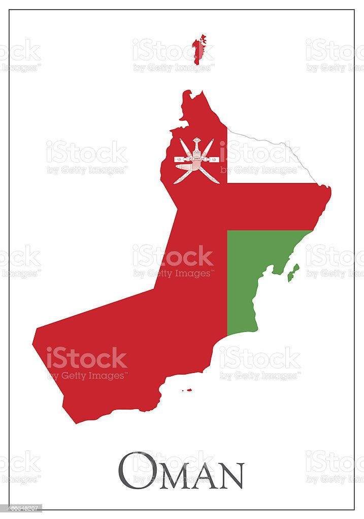 Oman flag map vector art illustration
