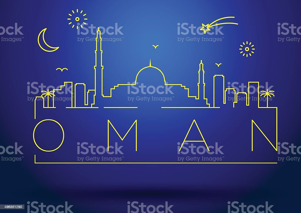 Oman Line Silhouette Typographic Design vector art illustration