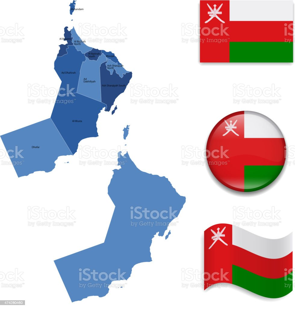 Oman Map  and Flag Collection vector art illustration