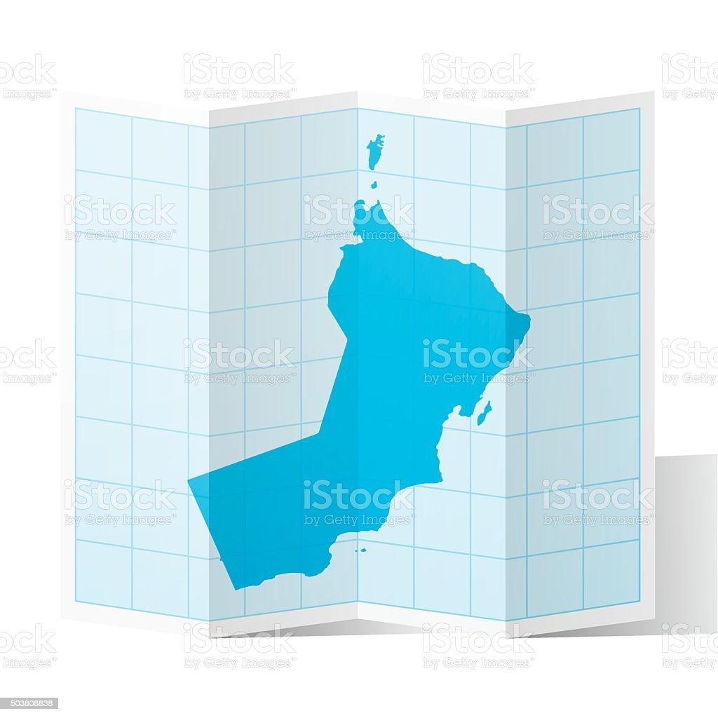 Oman Map folded, isolated on white Background vector art illustration