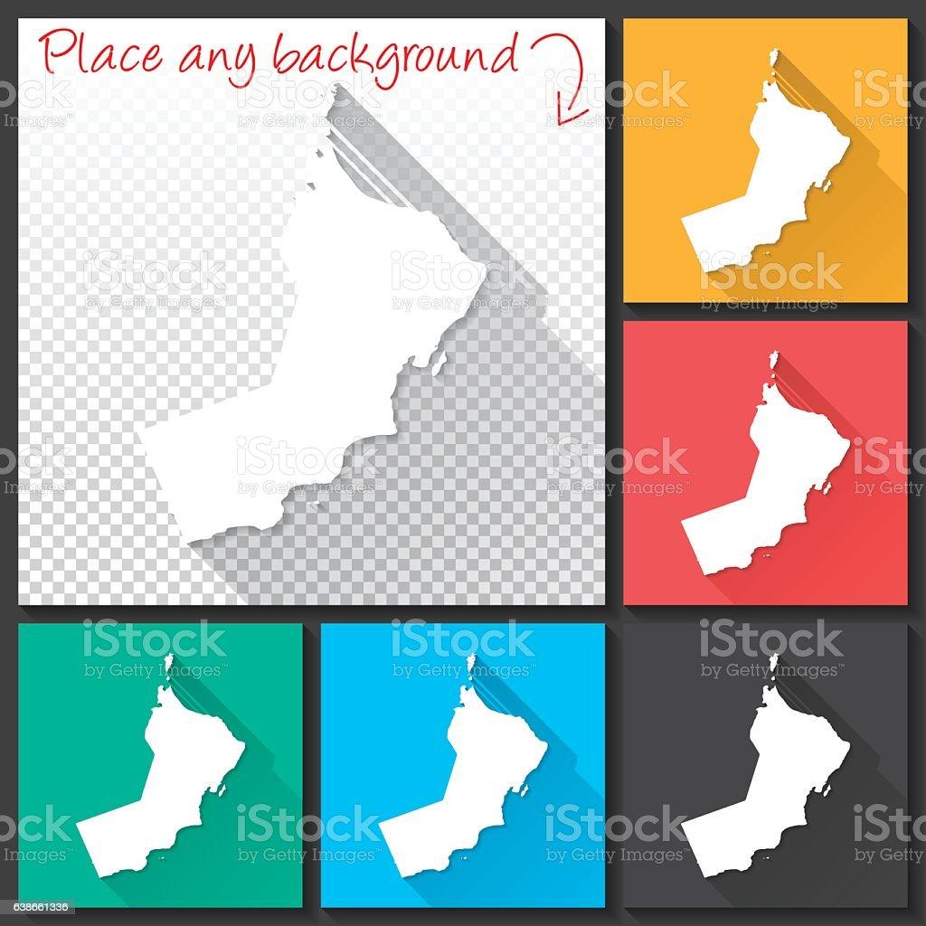 Oman Map for design, Long Shadow, Flat Design vector art illustration