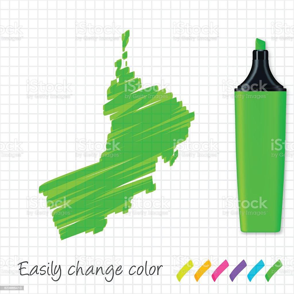 Oman map hand drawn on grid paper, green highlighter vector art illustration