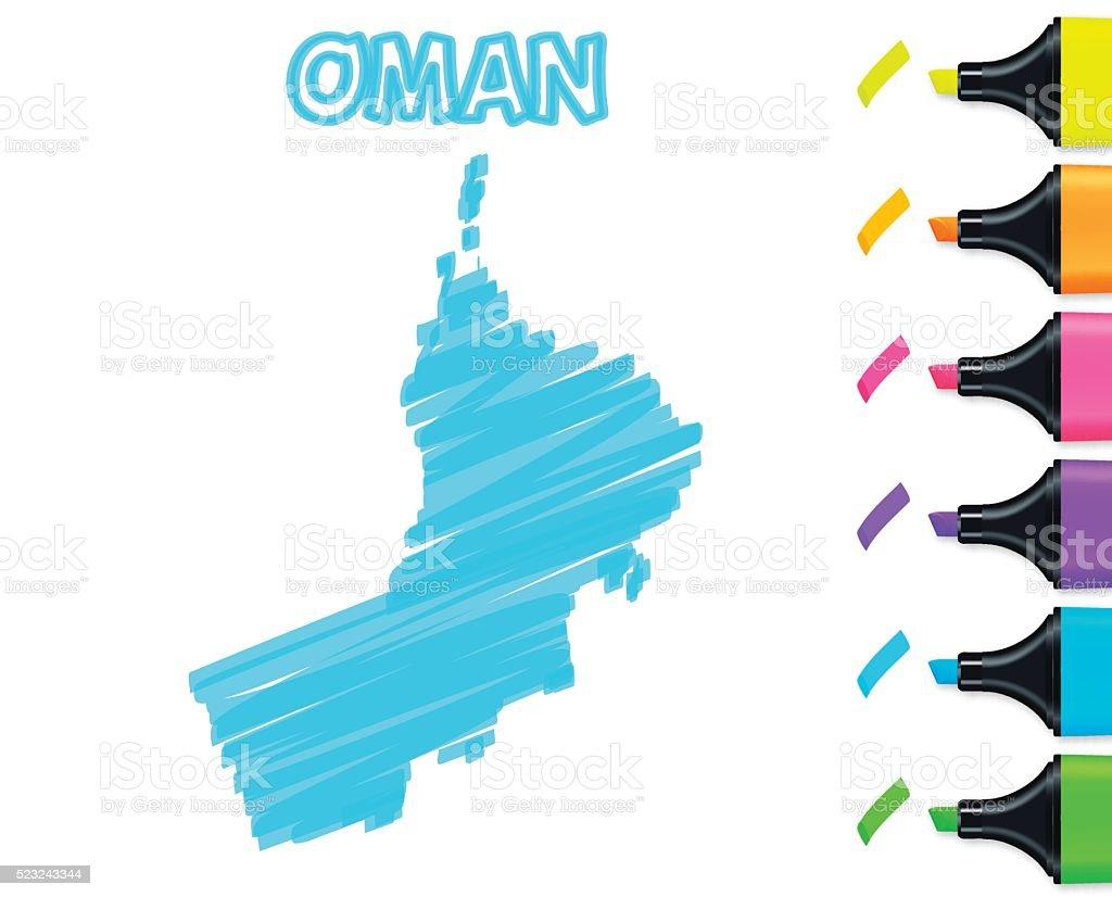 Oman map hand drawn on white background, blue highlighter vector art illustration