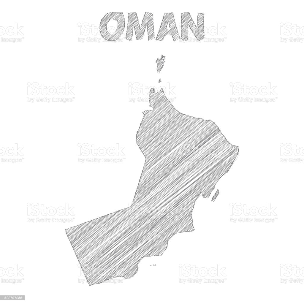 Oman map hand drawn on white background vector art illustration