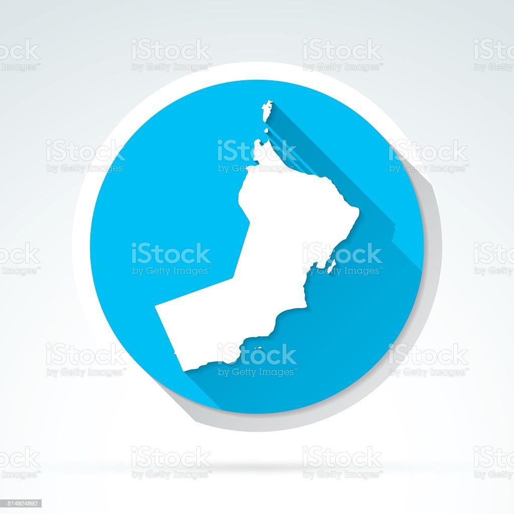 Oman map icon, Flat Design, Long Shadow vector art illustration