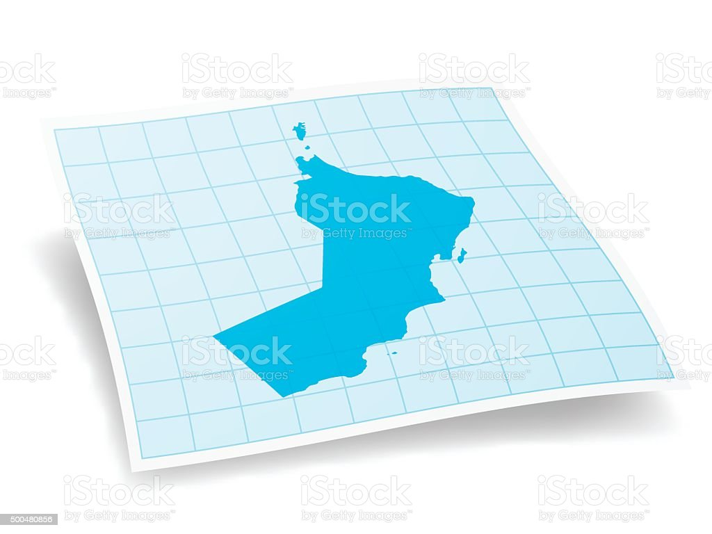Oman Map isolated on white Background vector art illustration