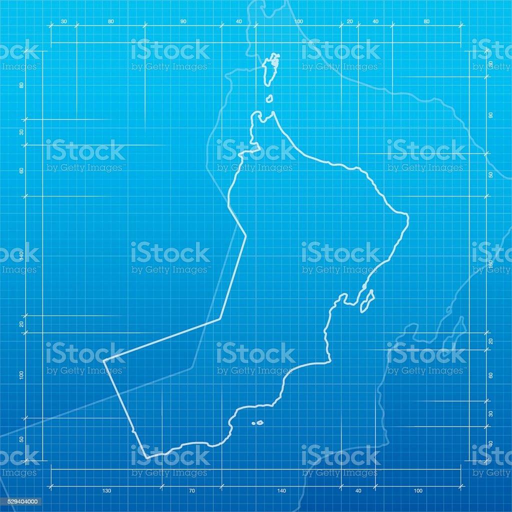 Oman map on blueprint background vector art illustration