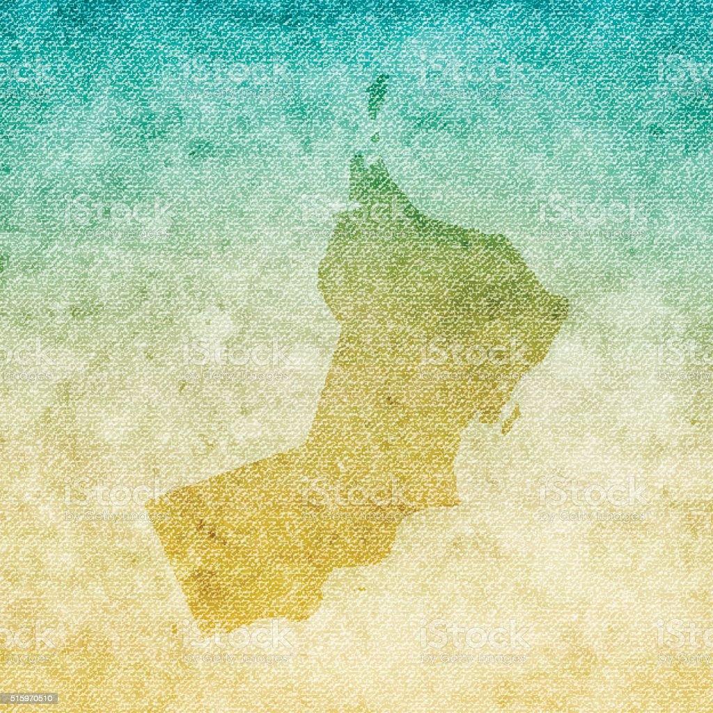Oman Map on grunge Canvas Background vector art illustration