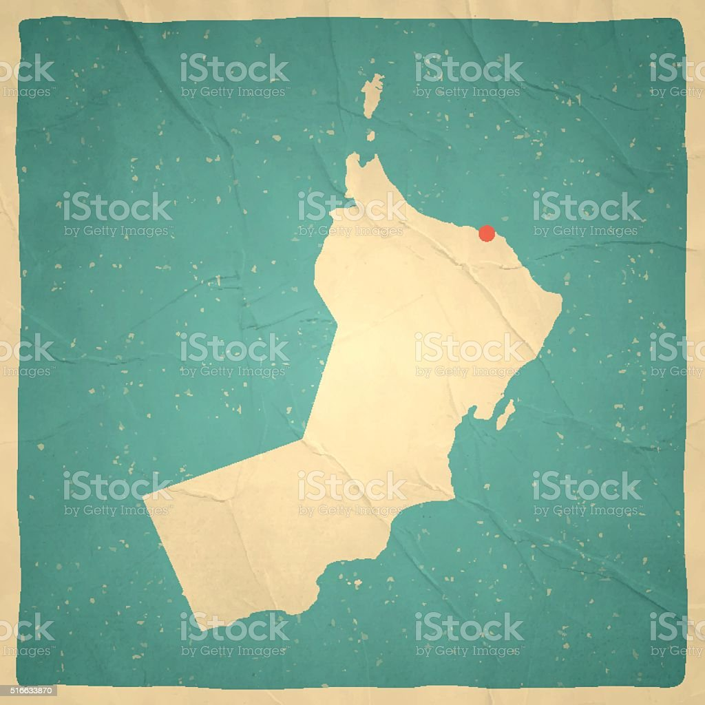 Oman Map on old paper - vintage texture vector art illustration