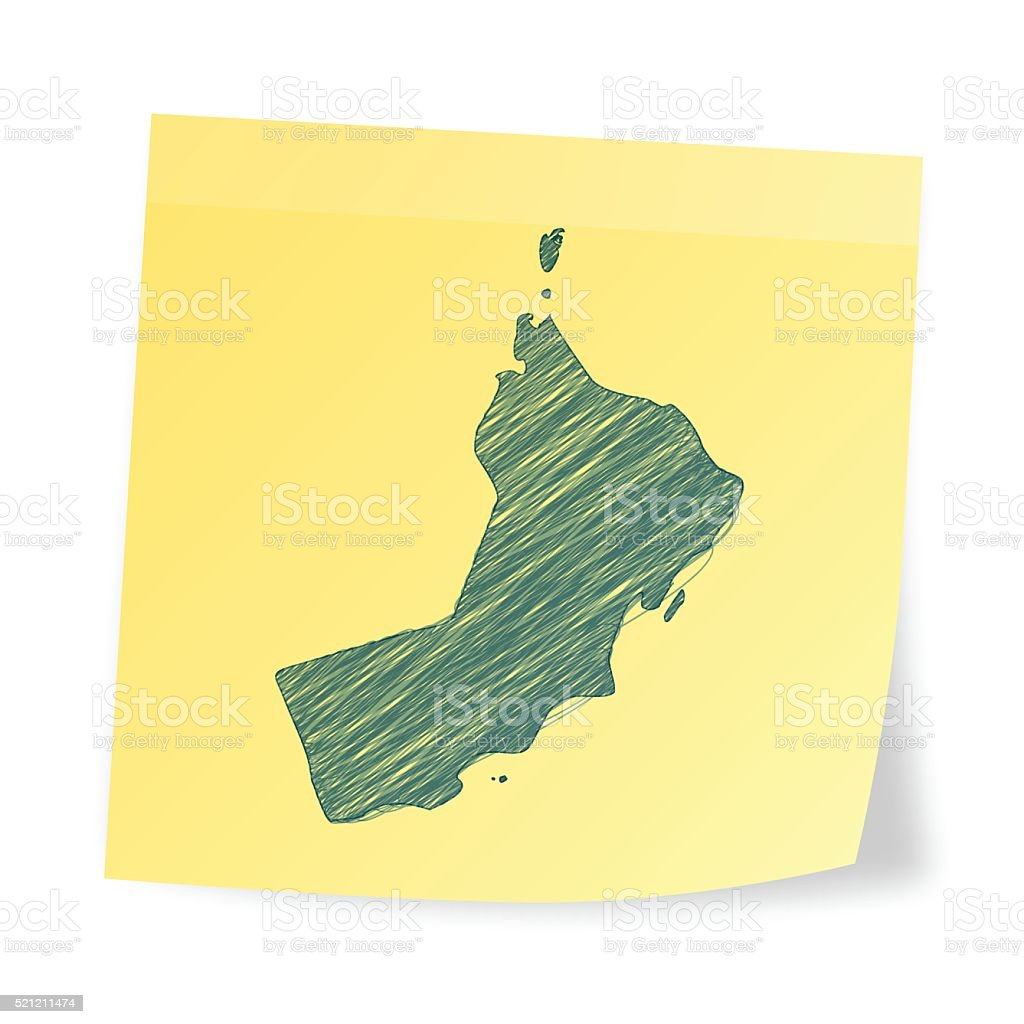 Oman map on sticky note with scribble effect vector art illustration