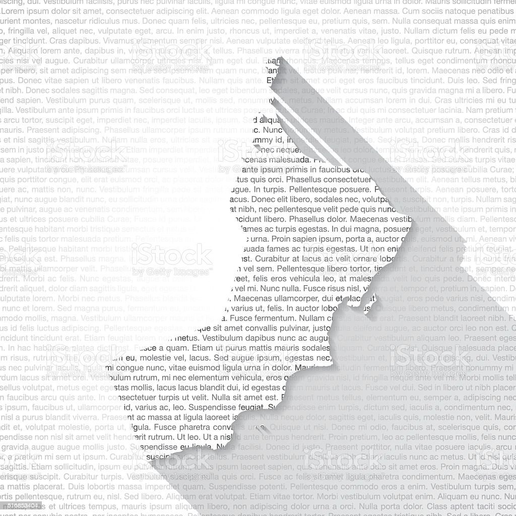 Oman Map on Text Background - Long Shadow vector art illustration