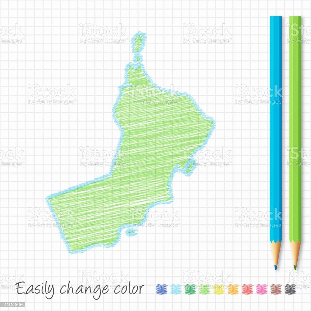 Oman map sketch with color pencils, on grid paper vector art illustration