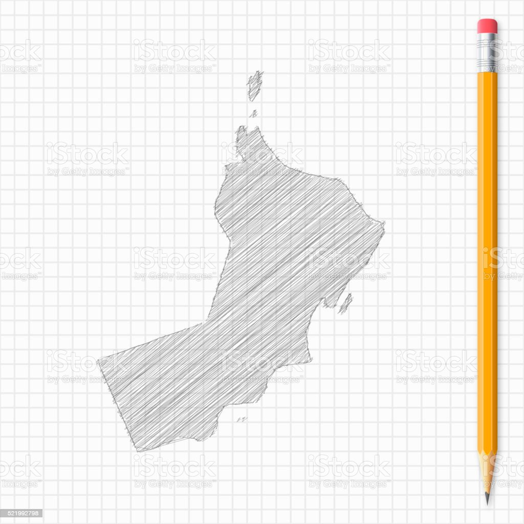 Oman map sketch with pencil on grid paper vector art illustration