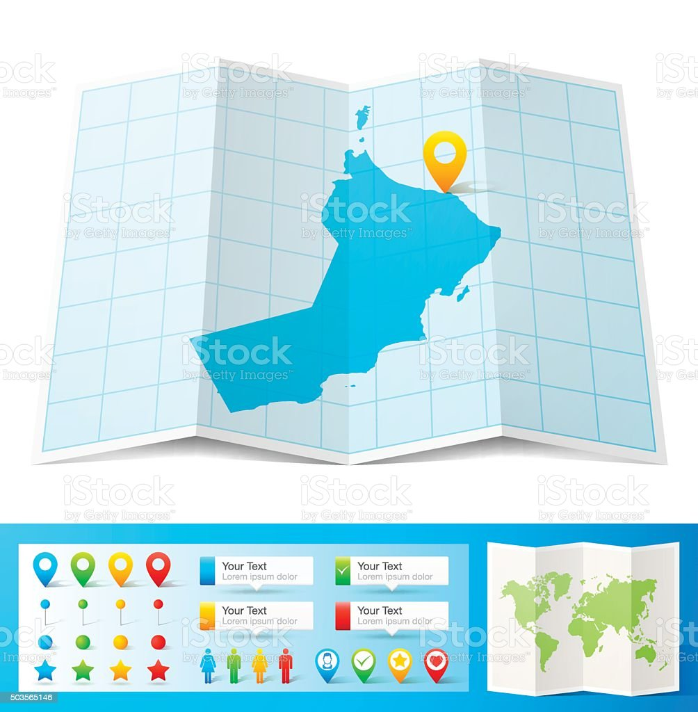 Oman Map with location pins isolated on white Background vector art illustration