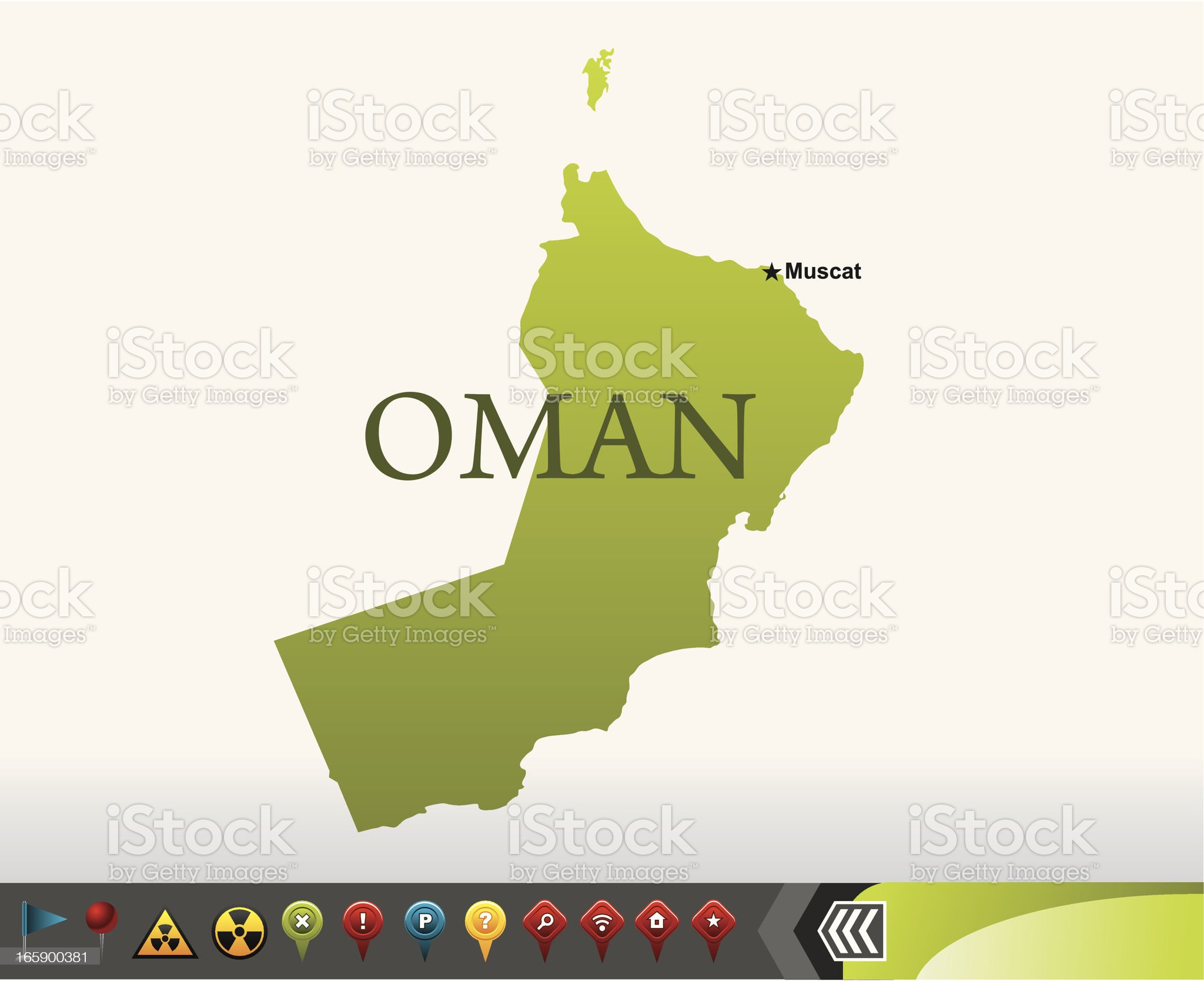 Oman map with navigation icons royalty-free stock vector art