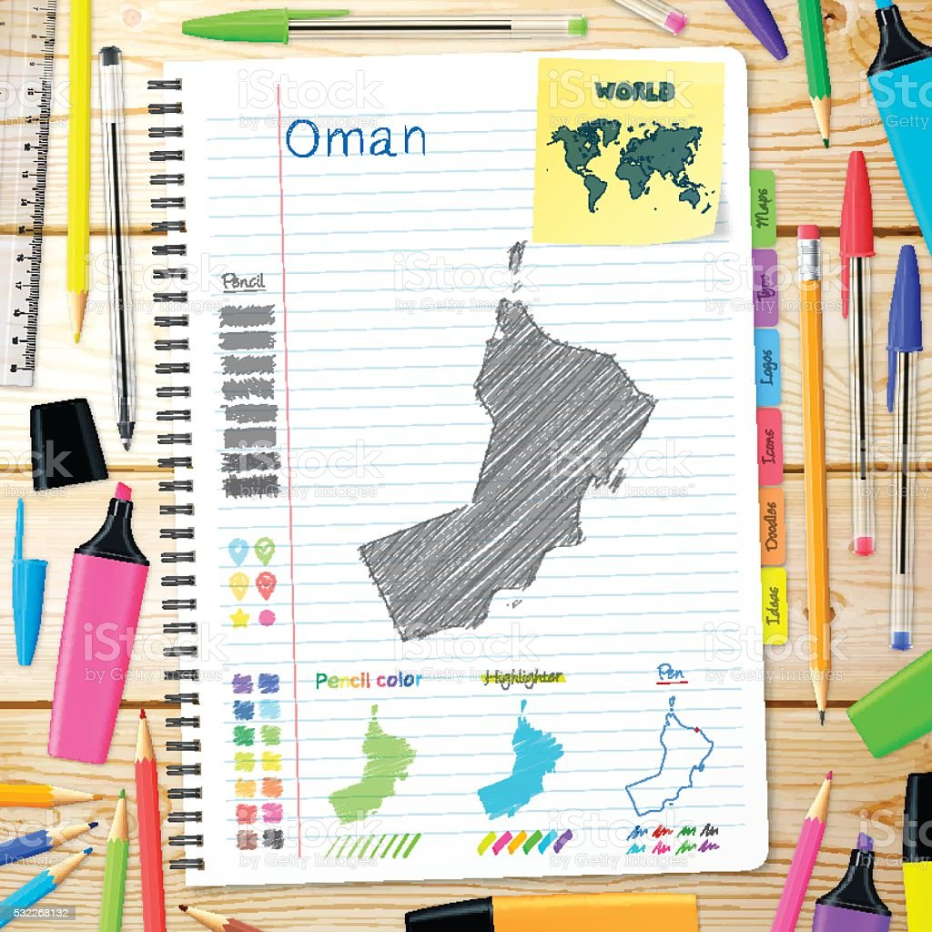 Oman maps hand drawn on notebook. Wooden Background vector art illustration