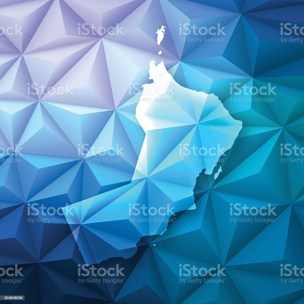 Oman on Abstract Polygonal Background - Low Poly, Geometric vector art illustration