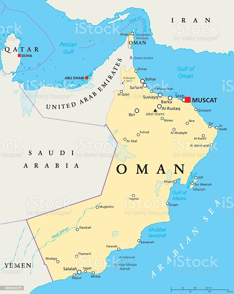 Oman Political Map vector art illustration