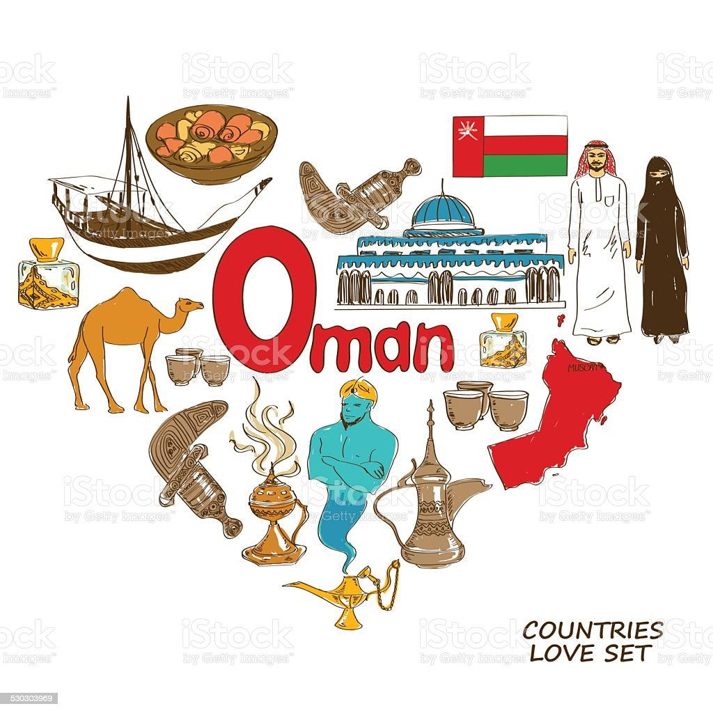 Oman symbols in heart shape concept vector art illustration