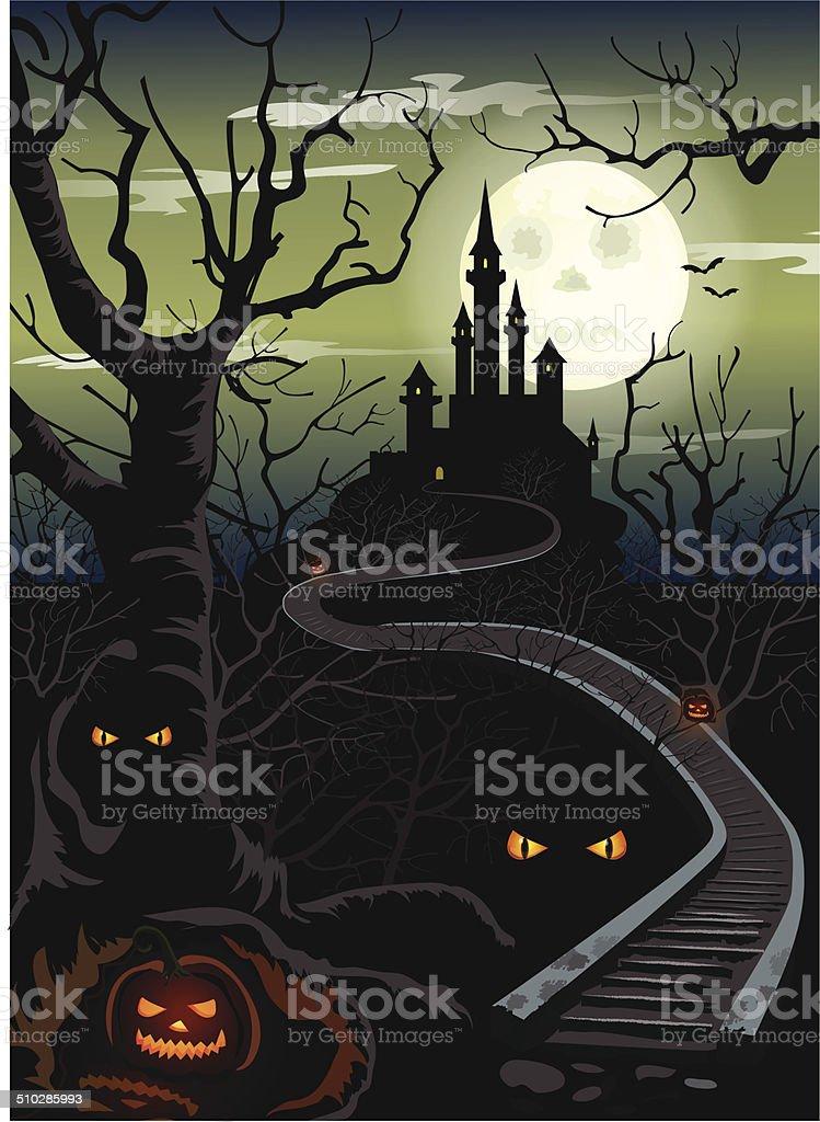 Ominous Halloween castle vector art illustration