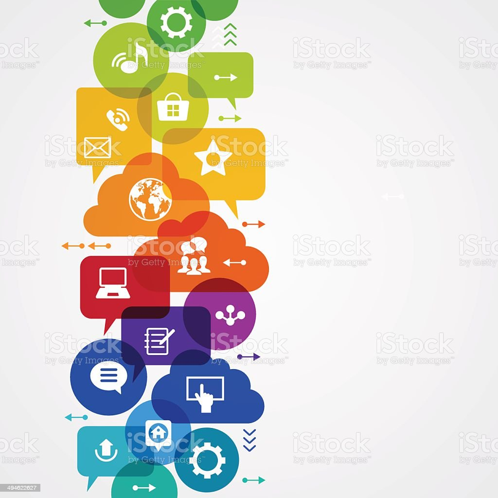 Communication in a global computer network vector art illustration