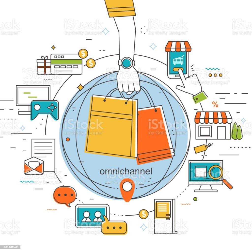 omni-channel concept illustration vector art illustration
