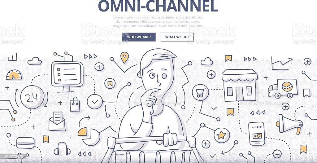 Omni-Channel Doodle Concept vector art illustration