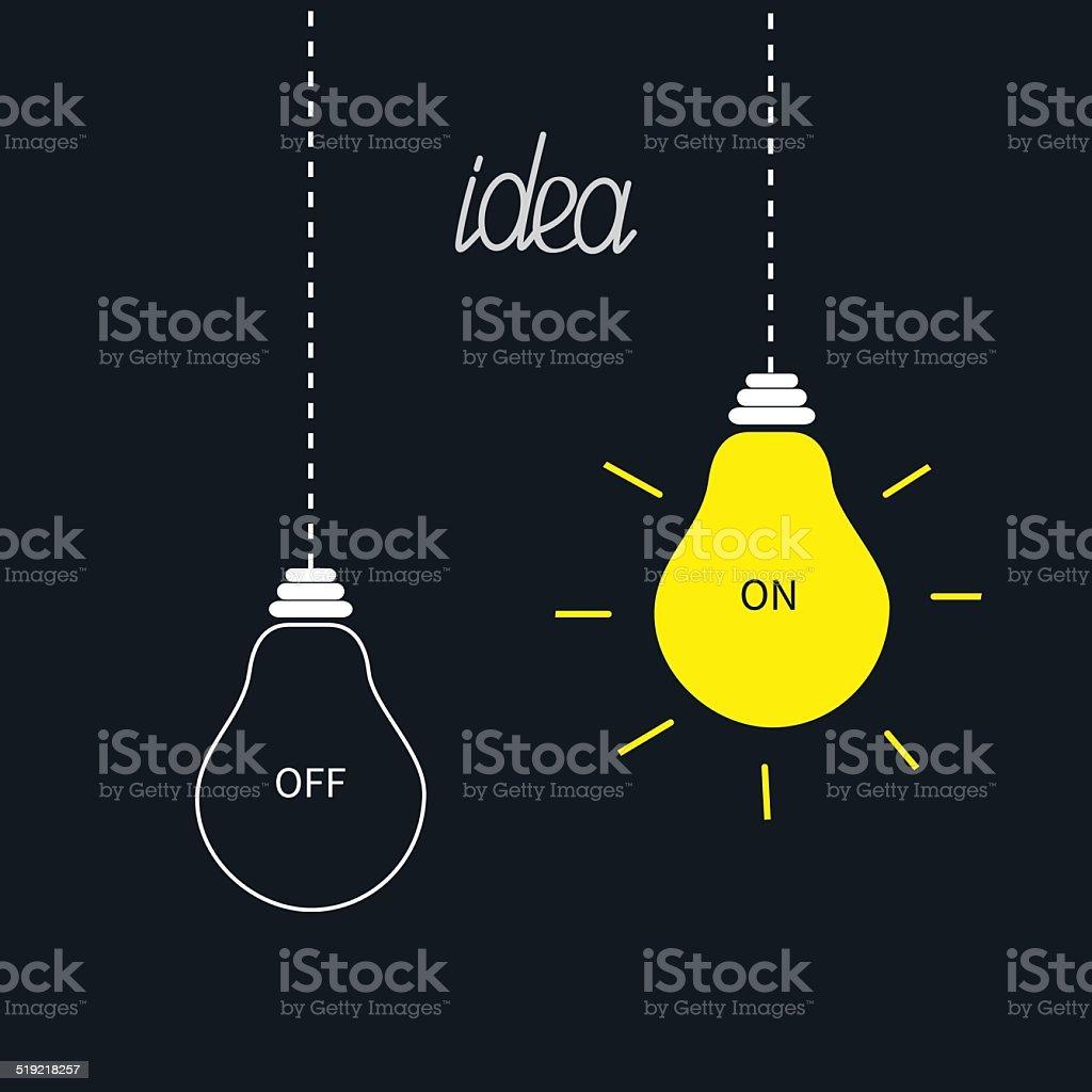 On and off bulbs in the dark. Idea concept. Flat vector art illustration