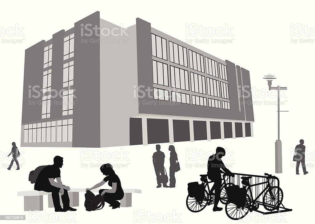 On Campus Vector Silhouette royalty-free stock vector art