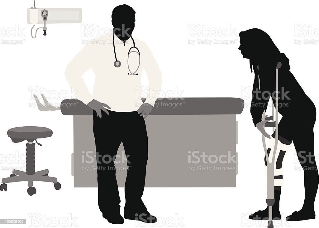 On Crutches Vector Silhouette royalty-free stock vector art