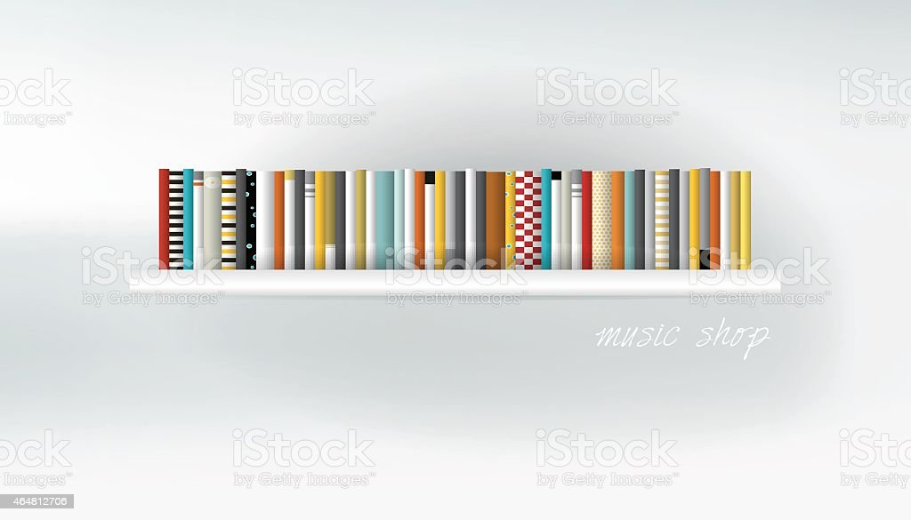CD, DVD on shelf. Vector illustration. Art background. vector art illustration