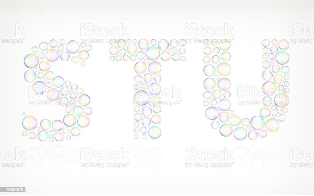 STU on Soap Bubbles vector art illustration