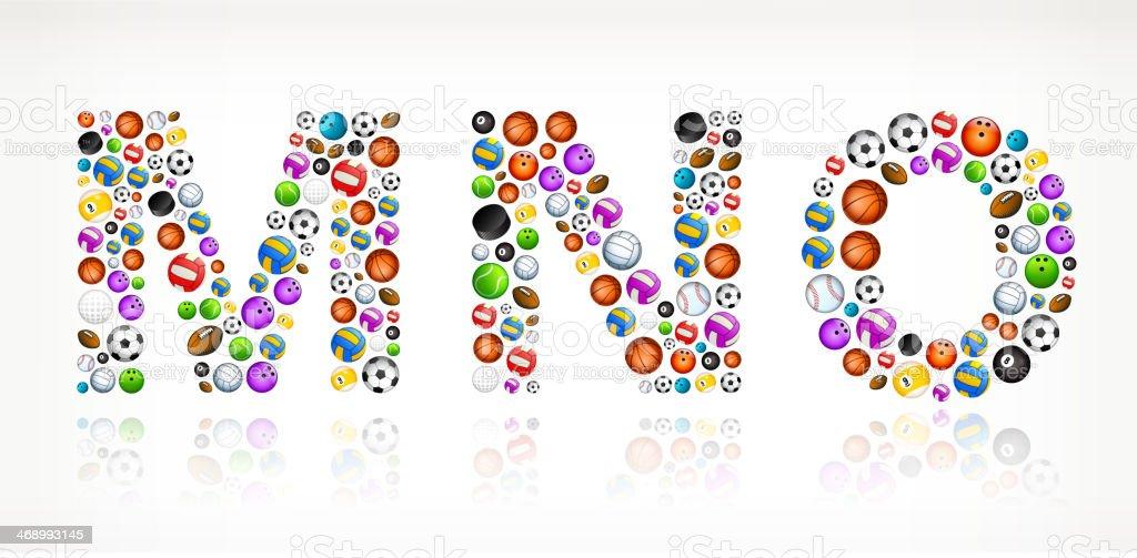 MNO on Sport Balls vector art illustration