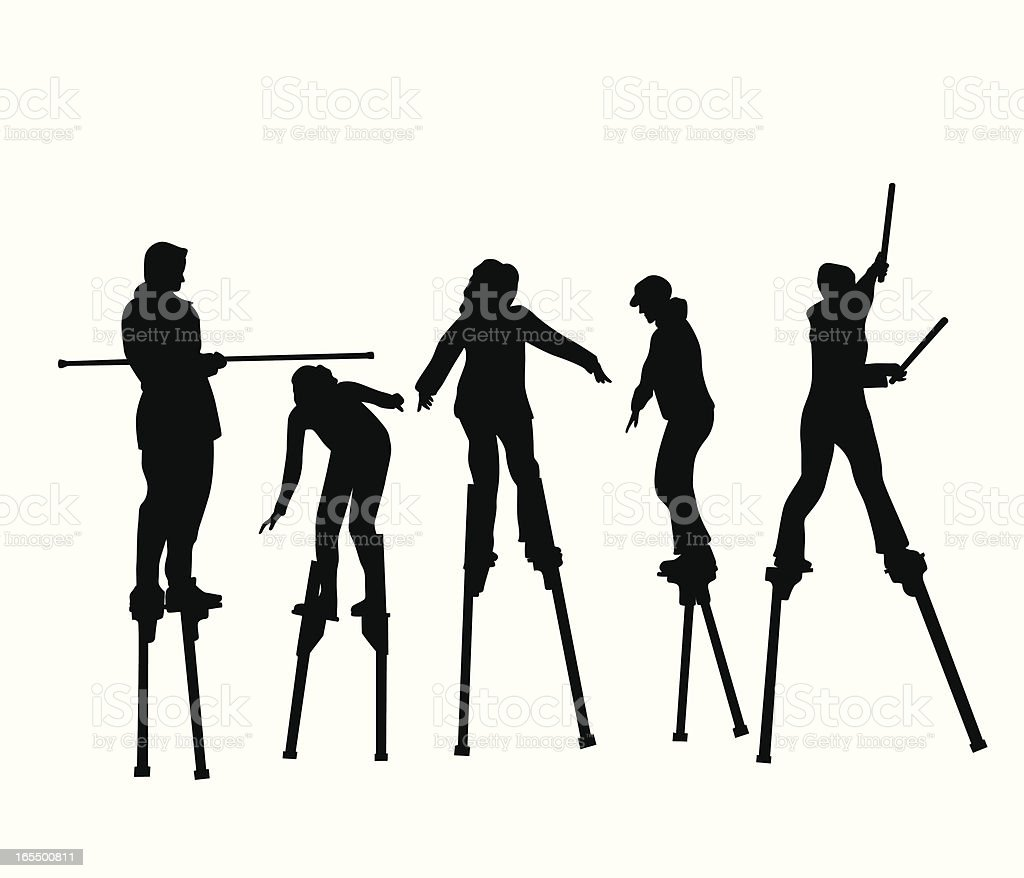On Stilts Vector Silhouette royalty-free stock vector art