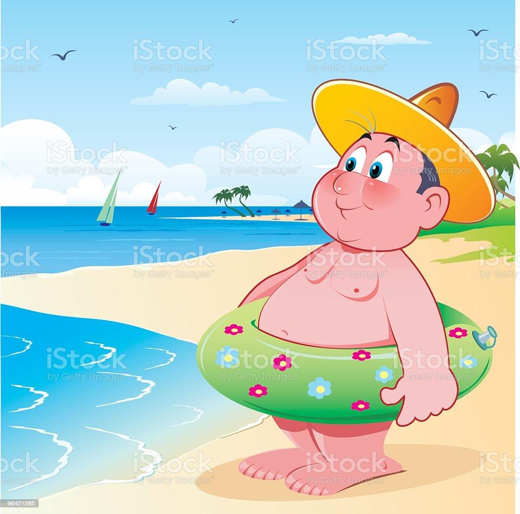 On the beach vector art illustration