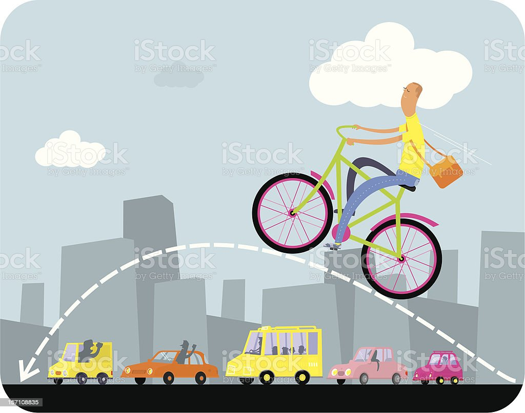 On the bike by big city. royalty-free stock vector art