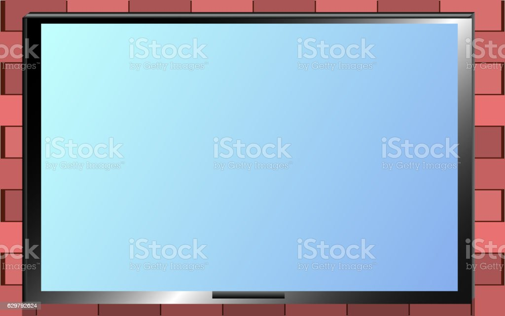 TV on the brick wall frame vector art illustration